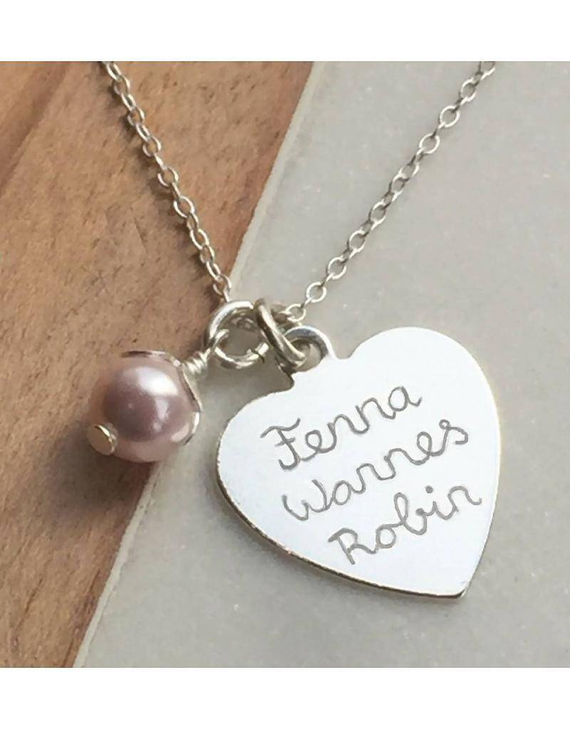 Engraved jewellery Personalized Necklace 'Lovely' 20x20 mm