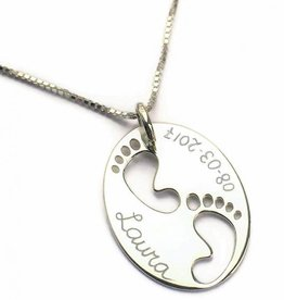 Engraved 'Baby Feet' on Birth Necklace