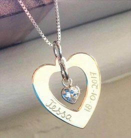 "Engraved jewellery Silver Necklace 'Forever by my Side ""with Crystal"