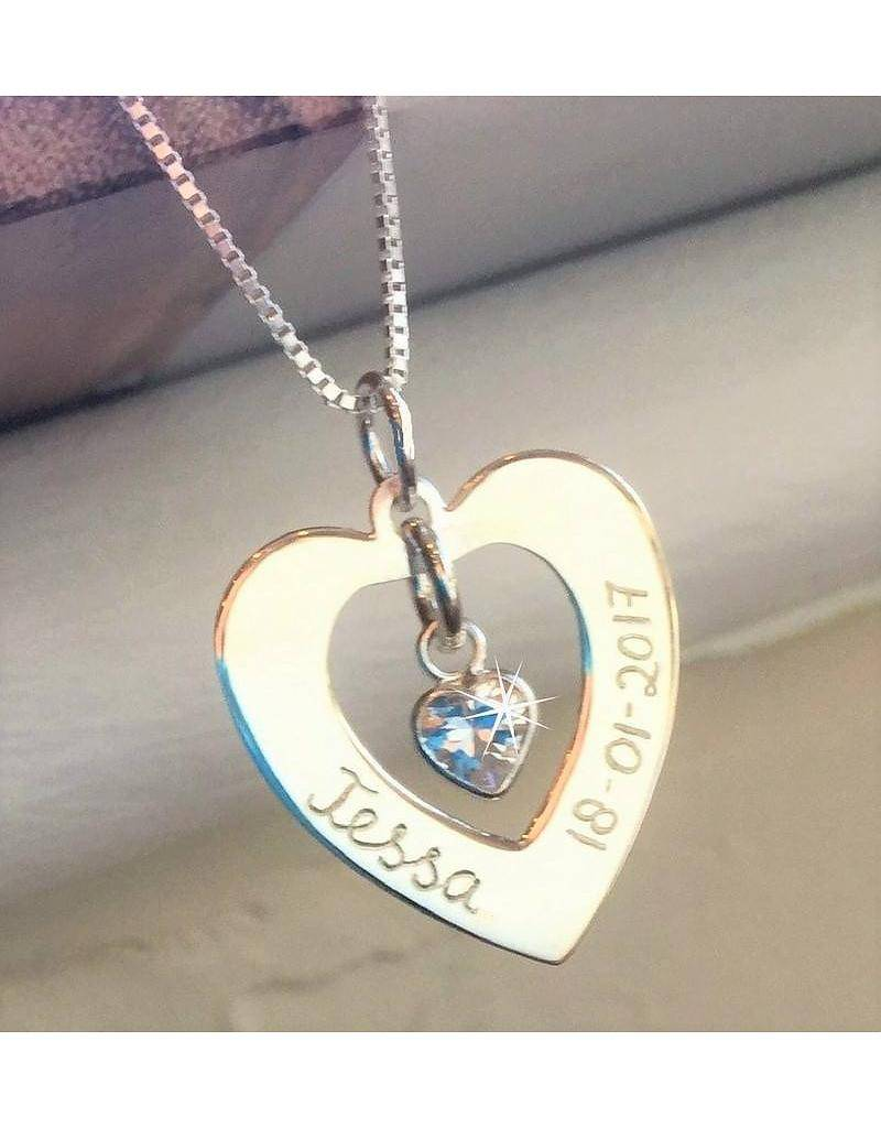 """Engraved jewellery Silver Necklace 'Forever by my Side """"with Crystal"""