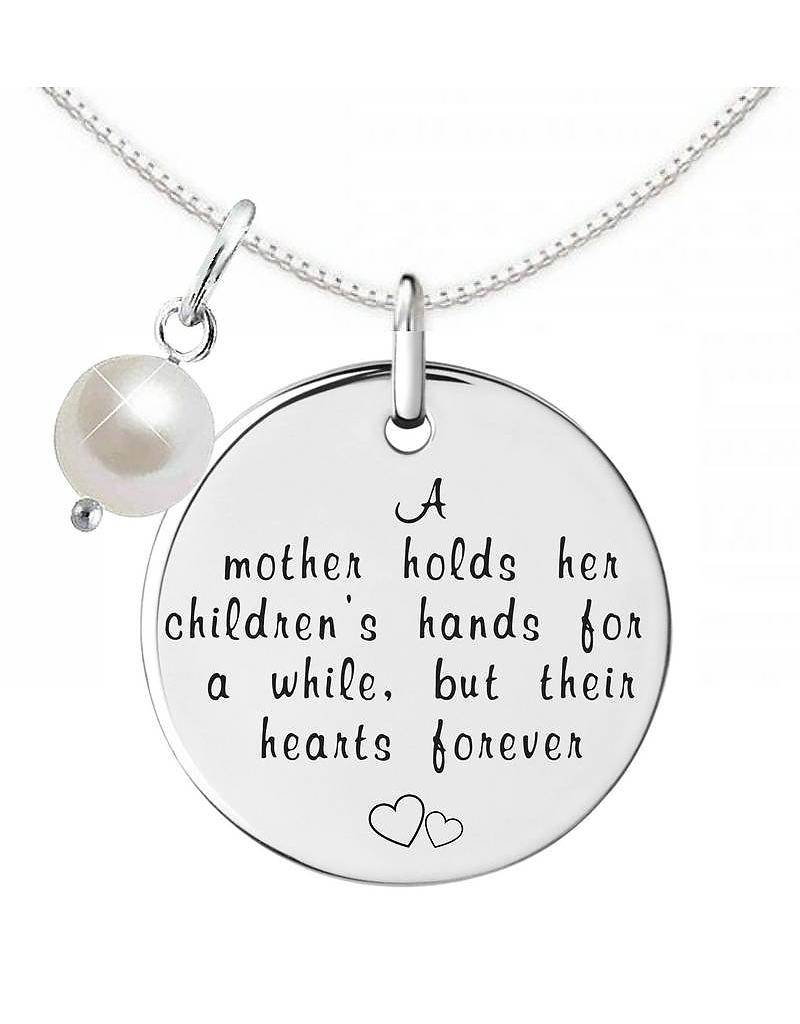 """Engraved jewellery Silver Necklace + Pearl """"A Mother holds her children's hands"""""""