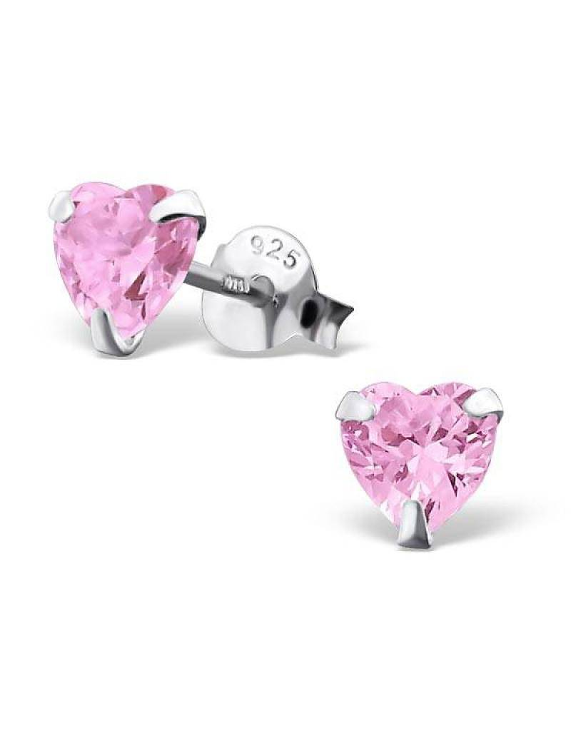 silver jewellery Children's Silver Heart Ear Studs with Crystal 'Pink Heart' 5 mm