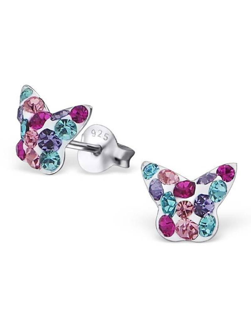 silver jewellery Silver Earrings 'Crystal Colour Butterfly'