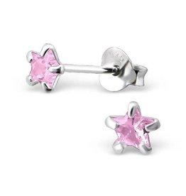 silver jewellery Children's Silver Ear Studs 'Pink Star 4 millimeter'