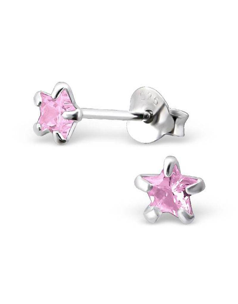 silver jewellery Children's Silver Ear Studs' Pink Star 4 millimeter'