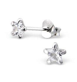 silver jewellery Children's Silver Ear Studs 'Silver Star 4 mm.'