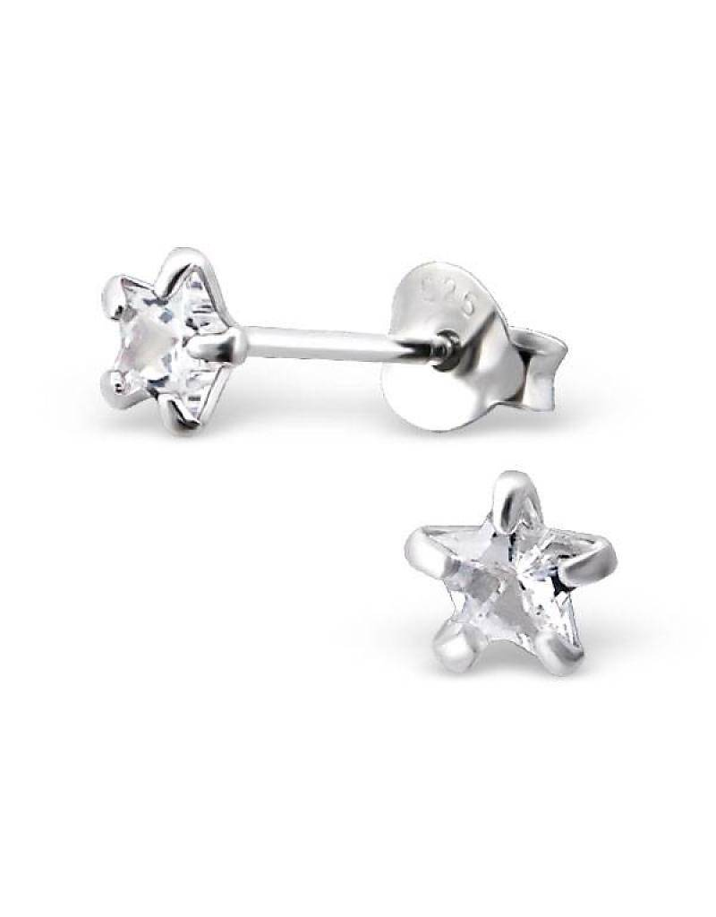 KAYA jewellery Children's Silver Ear Studs' Silver Star 4 mm.'