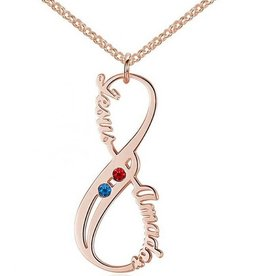 silver jewellery Infinity Necklace 'Birthstones' rose gold
