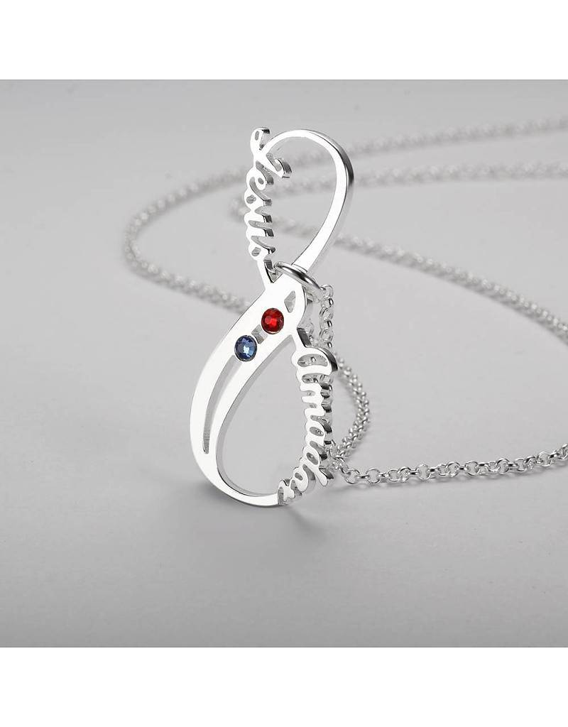 silver jewellery Infinity Necklace 'birthstones' silver
