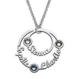 silver jewellery Birthstone Necklace Silver 'three circles'