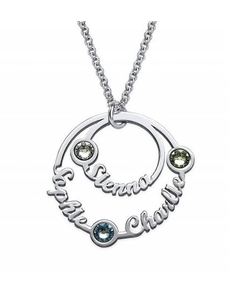 initials personalized pin birthstone mom necklace neckalce natural birthstones