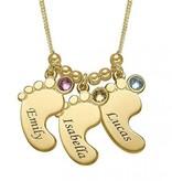 KAYA jewellery Birthstone Necklace Gold 'Baby Feet'