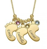 silver jewellery Birthstone Necklace Gold 'Baby Feet'