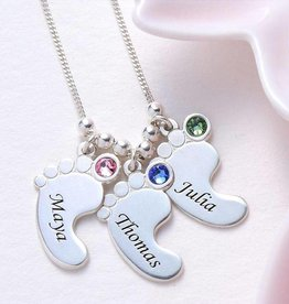 silver jewellery Birthstone chain '3 kids'