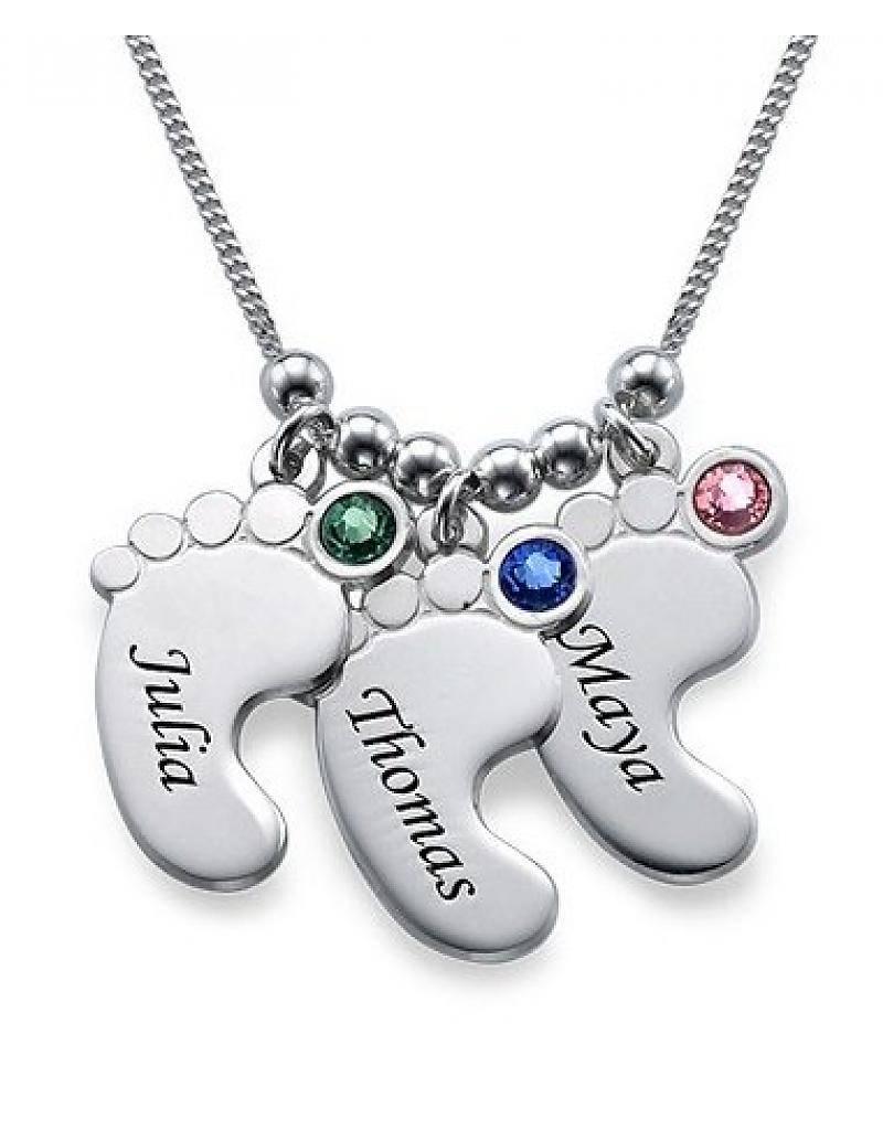 silver jewellery Birthstone chain '3 kids'