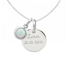 "silver jewellery Silver Necklace ""Moondance Opal 'Disc16 mm"
