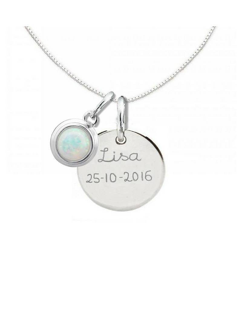 """silver jewellery Silver Necklace """"Moondance Opal 'Disc16 mm"""