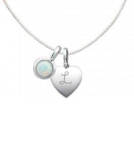 """silver jewellery Silver Necklace """"Moondance Opal 'Heart 10x12mm"""