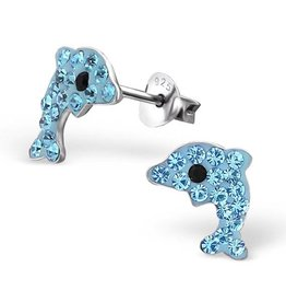 KAYA jewellery Dolphin Silver Earrings with Crystals