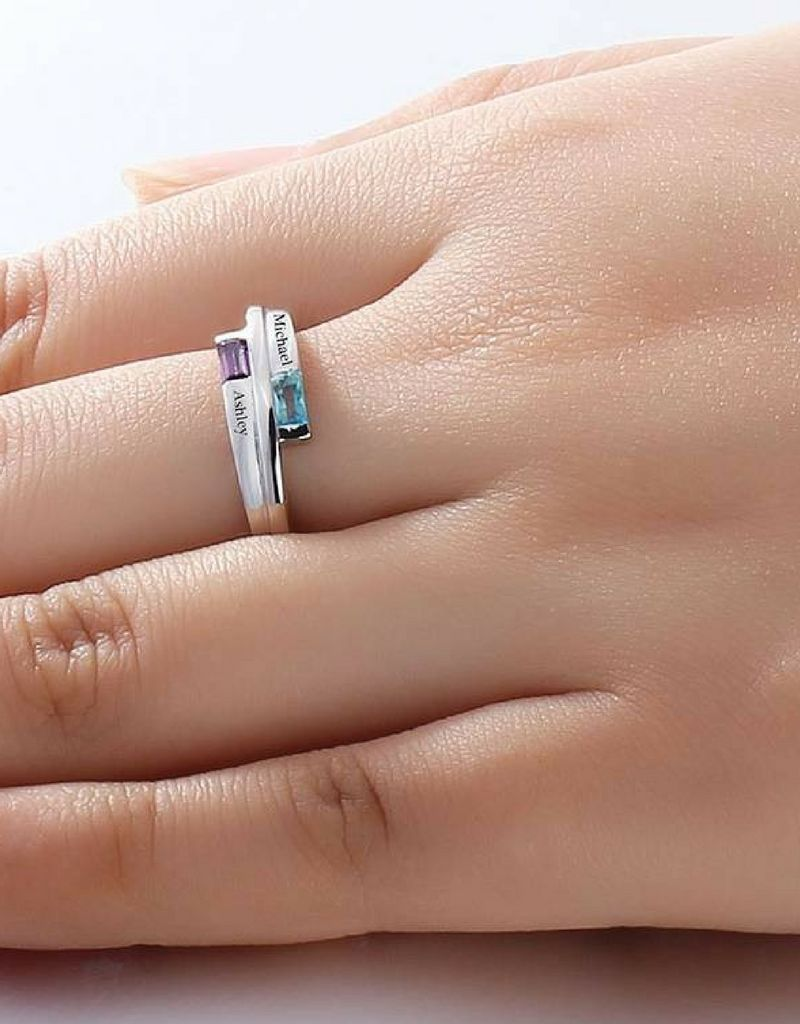 Engraved jewellery Birthstone ring with two names 'classy'