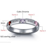 Engraved jewellery Birthstone ring '4 names'