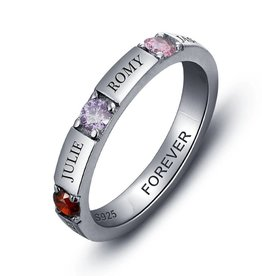 Engraved jewellery Birthstone ring '4 names''