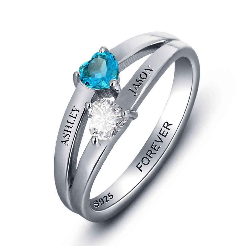 Engraved jewellery Birthstone ring with two names 'hearts'