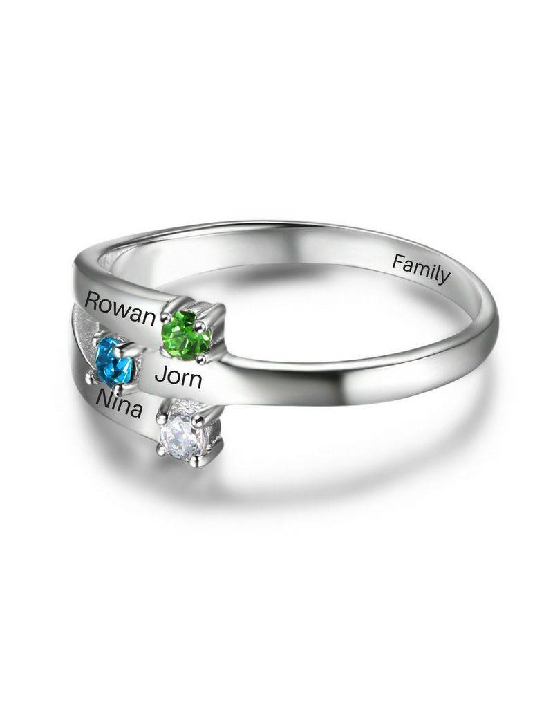 KAYA jewellery Ring with 3 birthstones '3 kids'