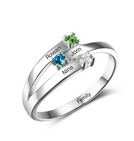 Engraved jewellery Ring with 3 birthstones '3 kids'