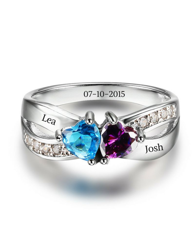 KAYA jewellery Ring with 2 birthstones 'love'