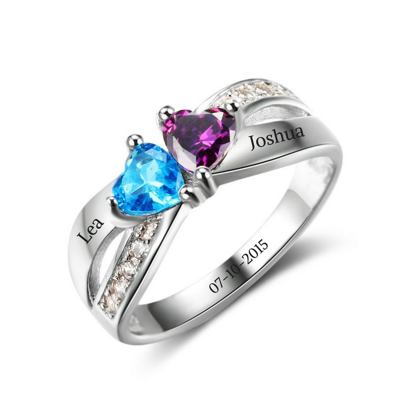Engraved jewellery Ring with 2 birthstones 'love'