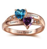 Engraved jewellery Ring with birthstones 'two hearts'