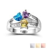 KAYA jewellery Birthstone ring '3 hearts'
