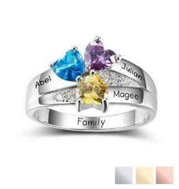 KAYA jewellery Birthstone ring '3 hearts'