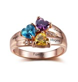 Engraved jewellery Birthstone ring '3 hearts'