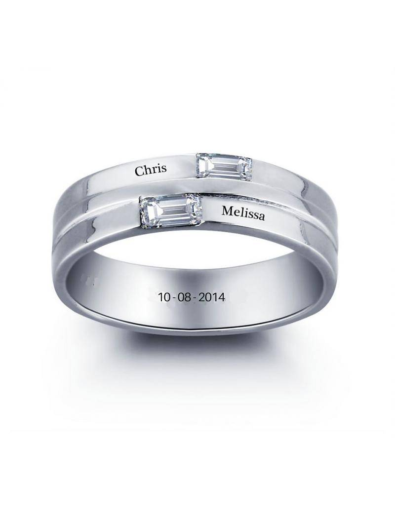 Engraved jewellery Ring with 2 names 'shine'