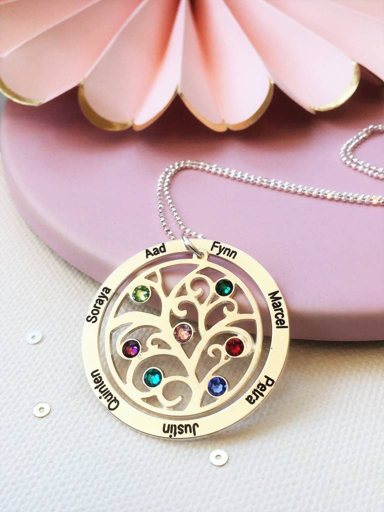 KAYA jewellery Birthstone necklace 'family tree'