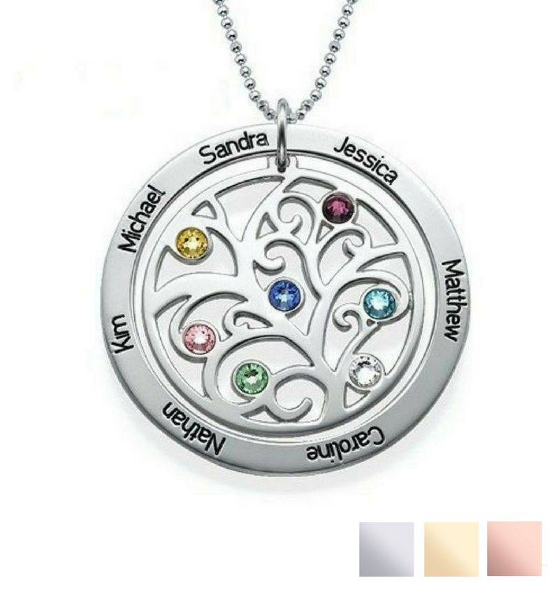 silver jewellery Birthstone necklace 'family tree'