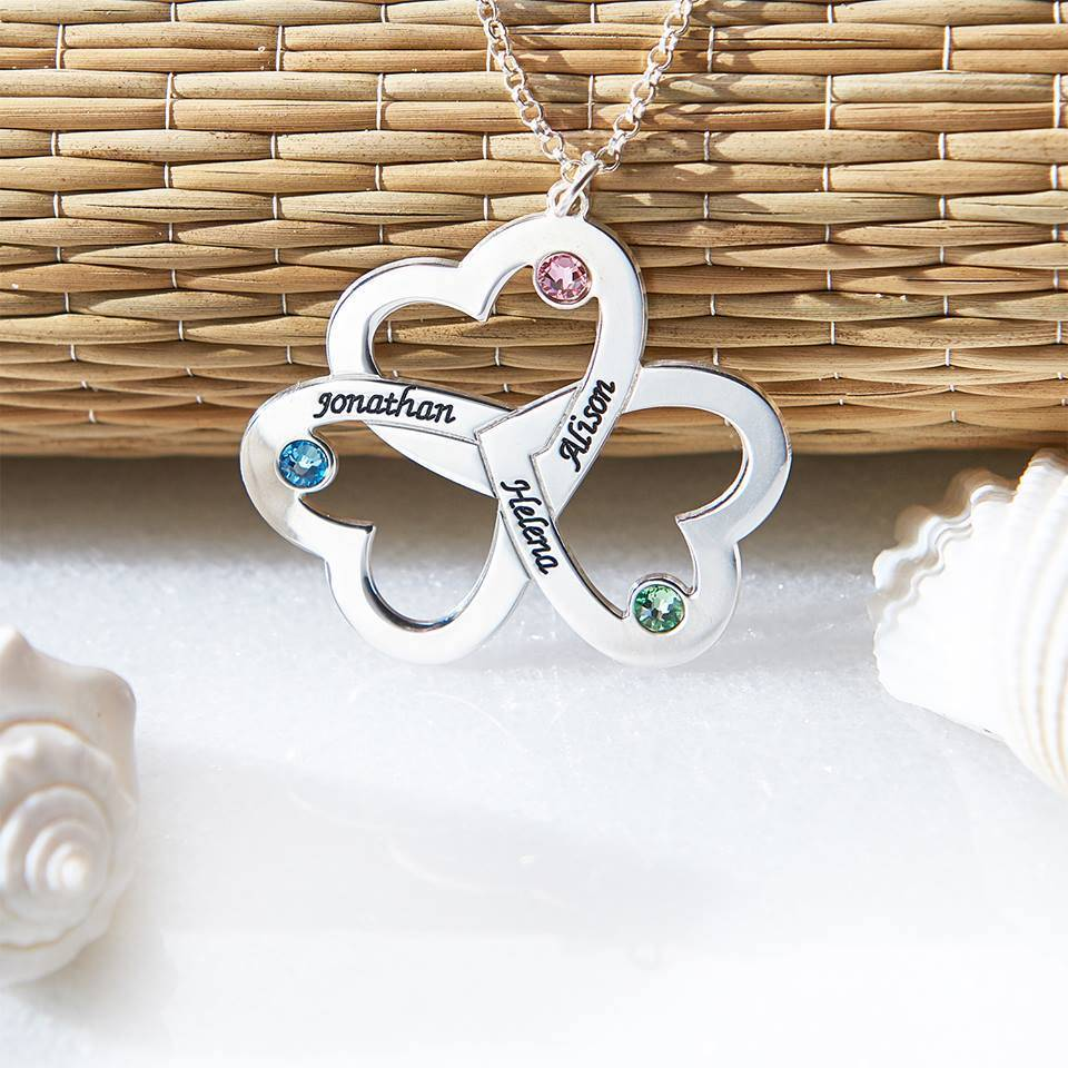 KAYA jewellery Birthstone necklace 'hearts'
