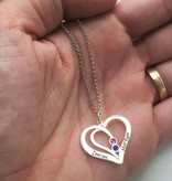 Engraved jewellery Birthstone necklace 'intertwined'