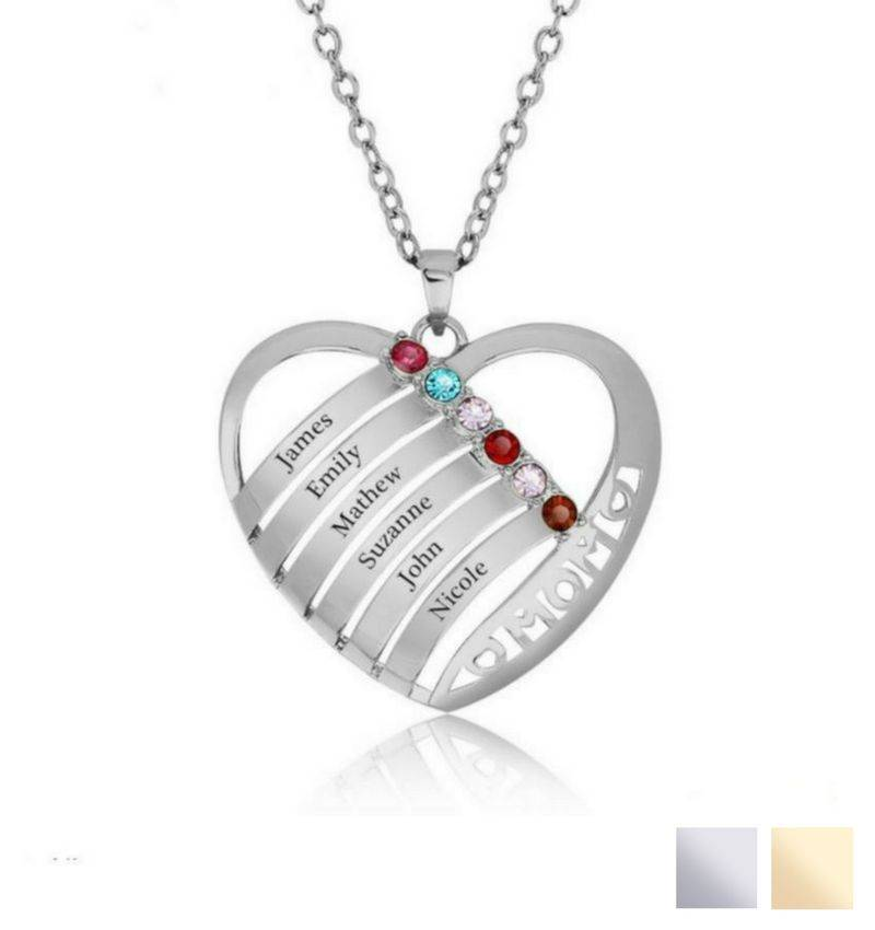KAYA jewellery Birthstone necklace 'family heart'