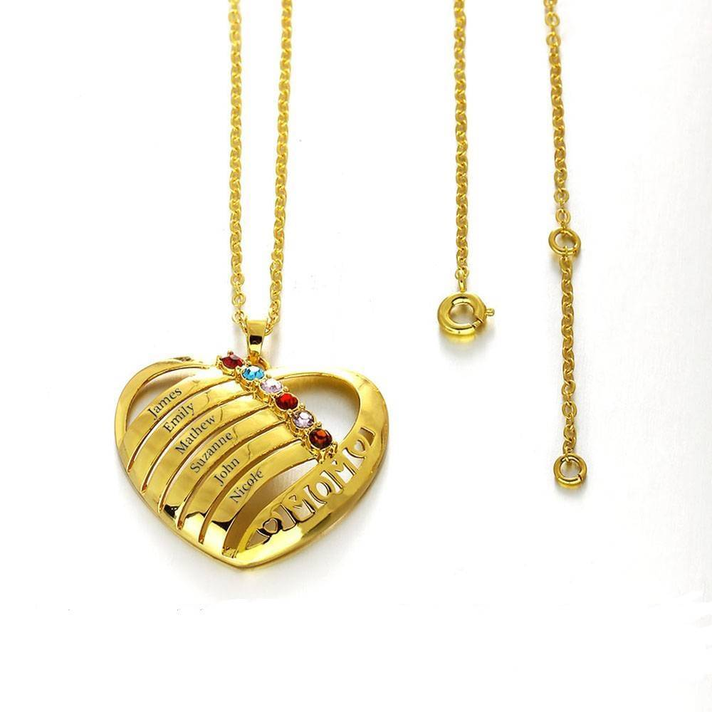 Engraved jewellery Birthstone necklace 'family heart'
