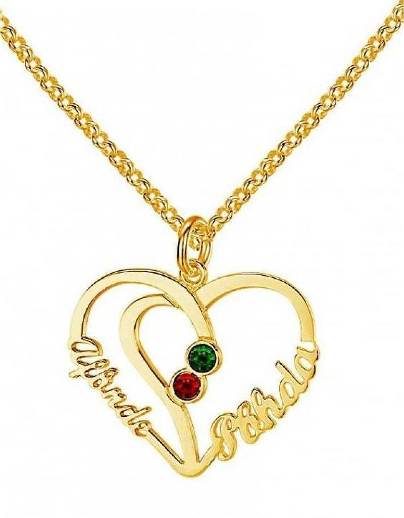Engraved jewellery Heart shaped birthstone necklace '2 names'