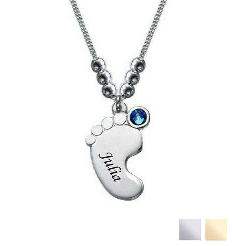 Engraved jewellery Birthstone necklace 'baby foot'