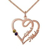 Engraved jewellery Heart shaped birthstone necklace '2 kids'
