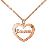 Engraved jewellery Heart shaped birthstone necklace
