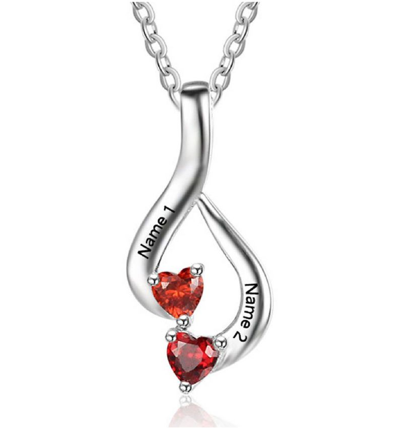 KAYA jewellery Birthstone necklace '2 hearts'