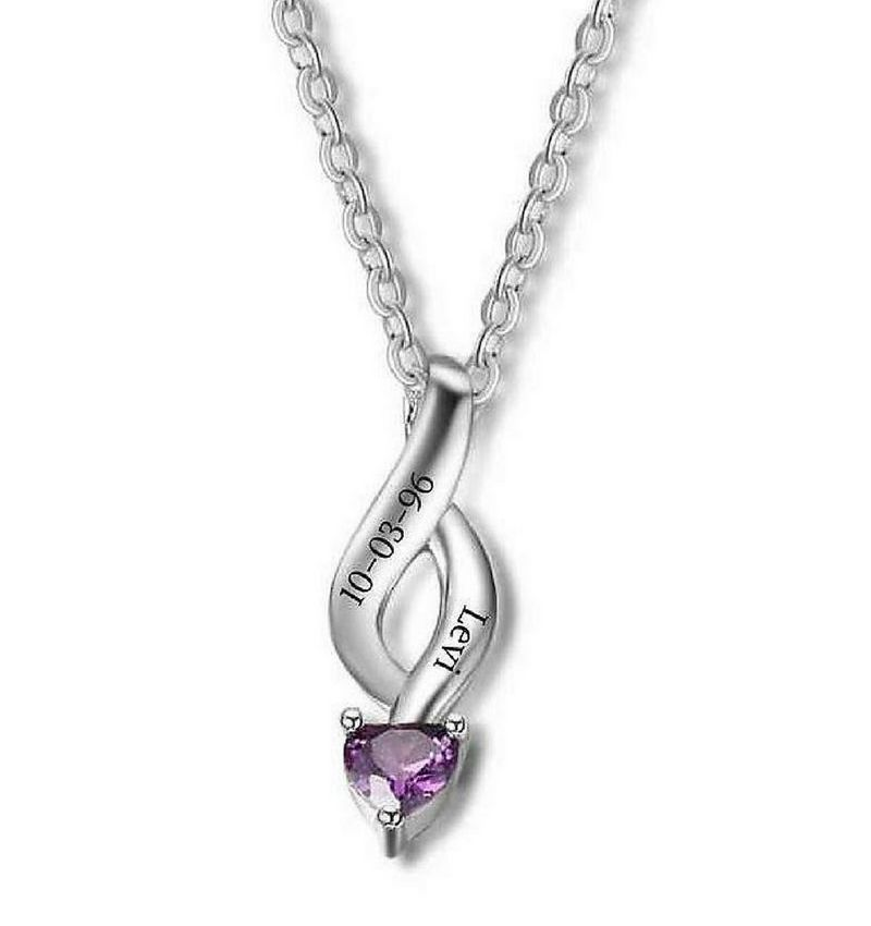 KAYA jewellery Silver necklace with heart shaped birthstone