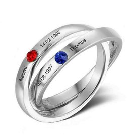 KAYA jewellery Two rings in one 'birthstones'