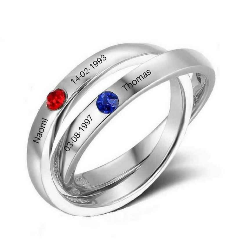 KAYA jewellery Two rings in one 'birthstones'